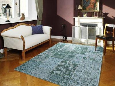 Vintage turquoise vloerkleden New York 486 Turquoise