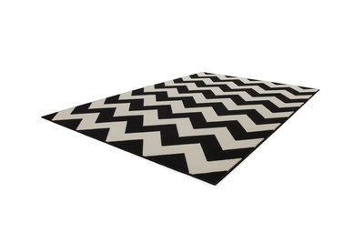 Modern zwart vloerkleed Manoa