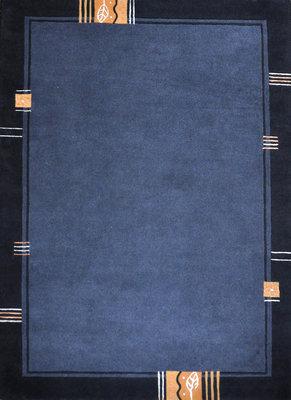 Handgeknoopte wollen vloerkleden Nepal Plus 92602 Blauw