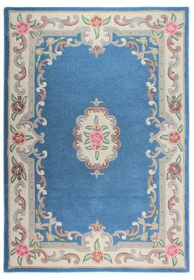 Klassiek wollen vloerkleed Prime kleur blauw