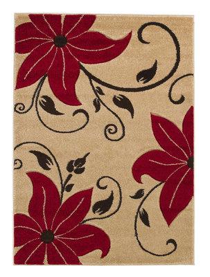 Aanbieding vloerkleed Victoria kleur beige rood OC15