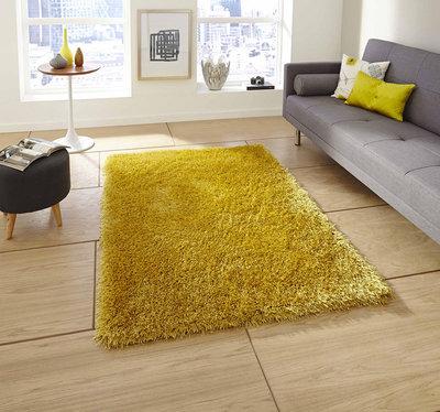 Hoogpolig vloerkleed Montblanc kleur geel