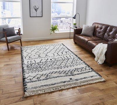 Vloerkleed Cottage 5402 kleur Zwart / Wit