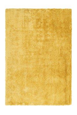 Effen vloerkleed hoogpolig Baston Geel