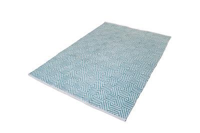 Handgemaakt katoen turquoise vloerkleed Retif 310